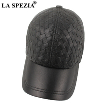 LA SPEZIA Hand Knitting Real Leather Baseball Cap For Men Sheepskin Black Male Snapback High quality Winter