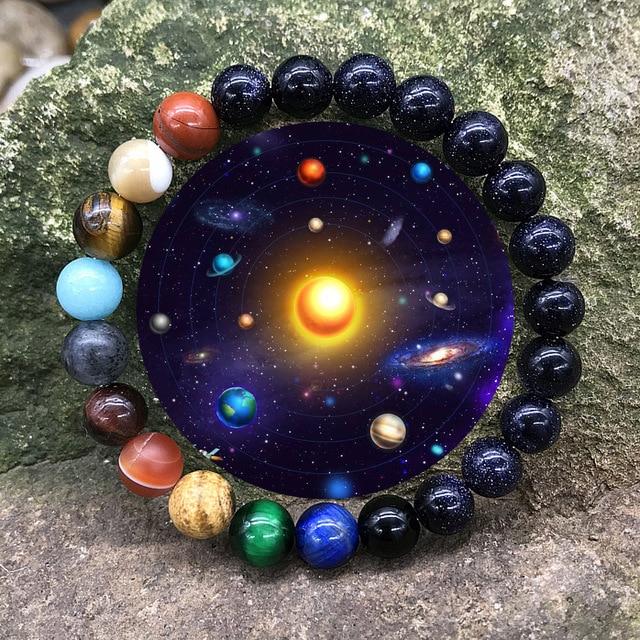 Nouvelle mode système solaire univers galaxie huit planètes Bracelet étoile lave Reiki pierre naturelle perles énergie réglable Bracelet