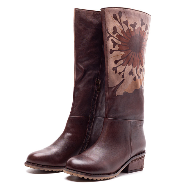Women Leather Knee High Boots