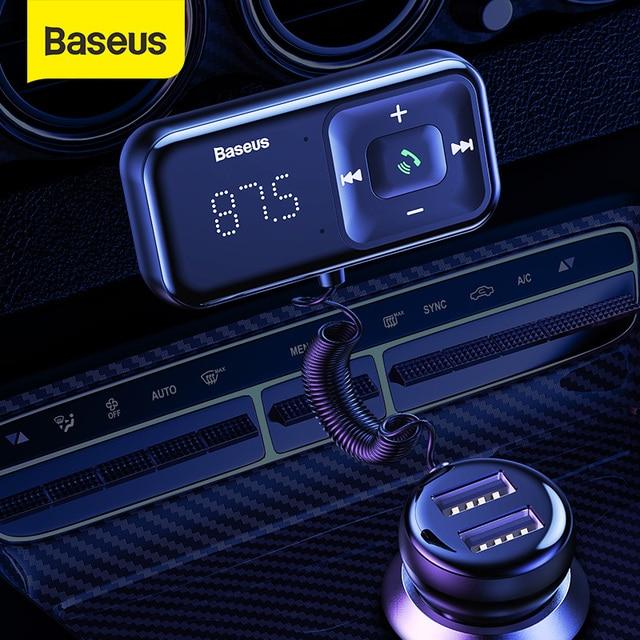 Baseus Auto Bluetooth Fm zender Draadloze MP3 Speler Ontvanger Dual Usb Auto oplader Sigarettenaansteker Voor Iphone Samsung