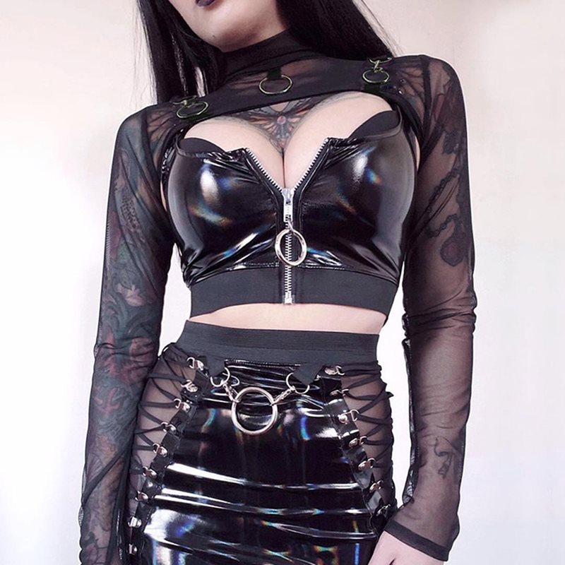 Rosetic 2020 Gothic Sexy Crop Tops Transparent Mesh Top Long Sleeve T Shirt Women Turtleneck Metal Punk Tees Streetwear Tshirt