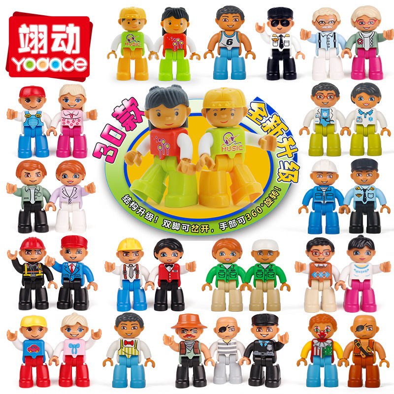 Building Blocks Duplo Figures Farm Action Figures Compatible Blocks With Family Police Education Toys For Baby