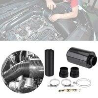 Kit de filtro de sistema de admisión de aire de coche de 3 pulgadas 76mm Kit de inducción de alimentación en frío de fibra de carbono con manguera de admisión