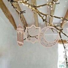 DIY Eid Mubarak Ramadan kreatywny drewniany naszyjnik Ornament drewniany Hollow dekoracja rękodzieło działania prezenty z linami dekoracja festiwalowa