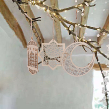 Tự Làm EID Mubarak Ramadan Gỗ Sáng Tạo Mặt Dây Chuyền Trang Trí Bằng Gỗ Rỗng Vật Trang Trí Thủ Công Hoạt Động Tặng Kèm Dây Lễ Hội Trang Trí