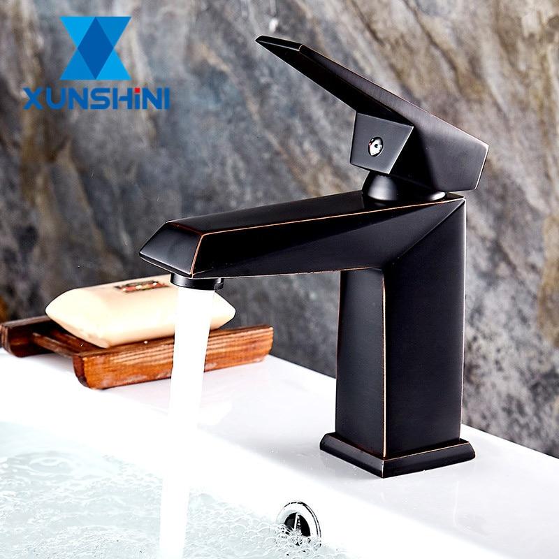 XUNSHINI смеситель для раковины из латуни, смеситель для раковины с черной щеткой, смеситель для раковины, смеситель для ванной комнаты на палубе Torneira Смесители для бассейна      АлиЭкспресс
