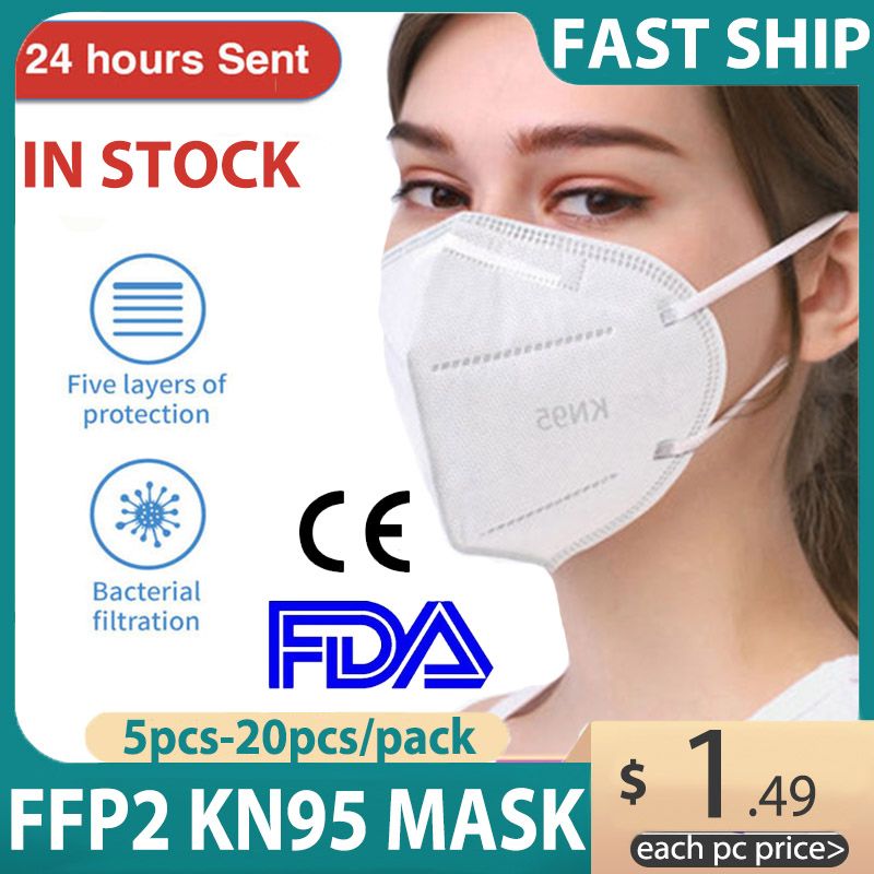 20PCS N95 Mask Anti Influenza Mask Anti-Fog Dust PM2.5 Masks Air Filter Dust Proof Protection Adult KN95 Mouth Face Mask