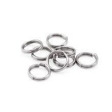 Unids/lote de anillos de doble salto de acero inoxidable, 5, 6, 7, 8, 10 y 12mm, conectores de anillos partidos, suministros de joyería, 100