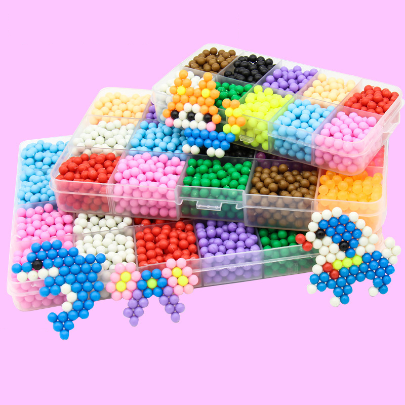 DIY Water Spray Beads Set 6000pcs 24colors Beads Puzzle Crystal Color Ball Games 3D Handmade Kids Magic Toys For Children