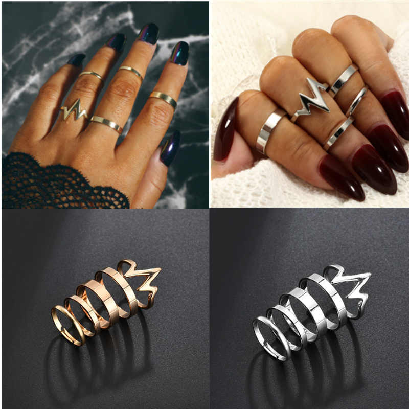 Gorgeous Women's Ring New Lightning ECG Women's Ring Set Alloy Smooth Ring Set of 5 Beautiful Jewelries Rings Ornaments 4RD224