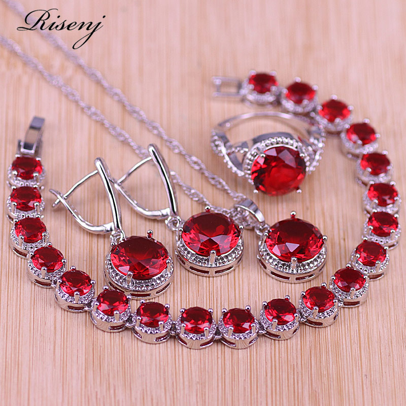 Risenj Factory Directly Sales Red Zircon Big Round Jewelry For Women Earrings Ring Necklace Set With Bracelet Bridal Jewelry