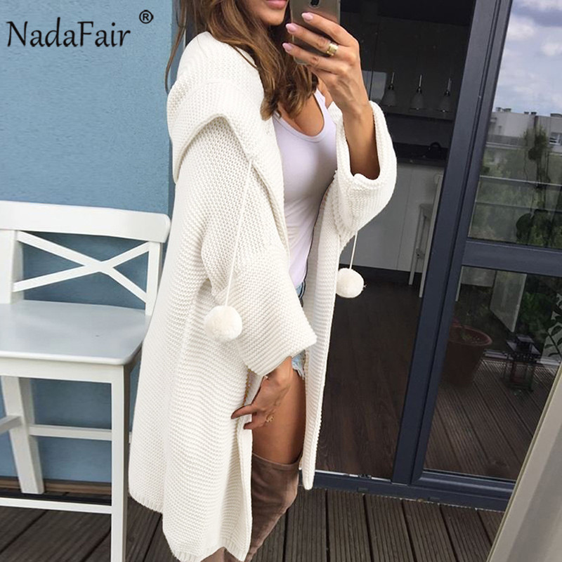 Nadafair Thick Winter Knitted Long Cardigan Women Plus Size Solid Casual Lazy Red Pink White Hooded Oversized Sweaters Female