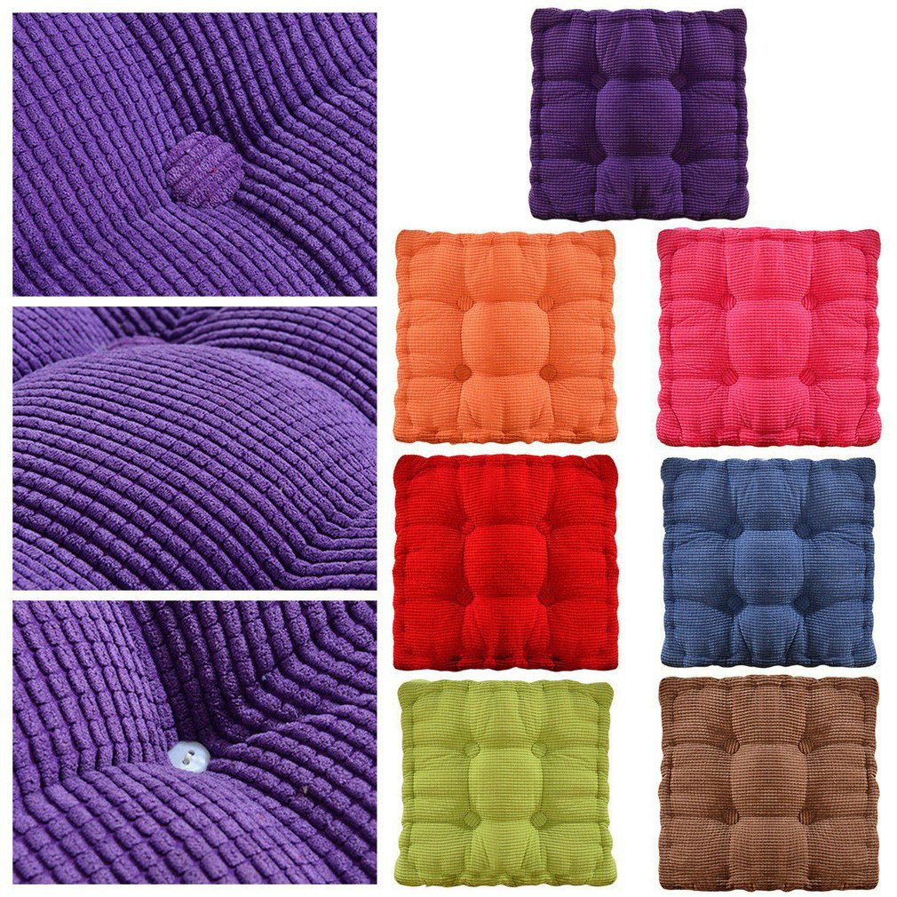 New Corn Solid Color Dining Chair Cushion Square Cushion Thickening Office Velvet Cushion Upholstery Tatami Mat Chair