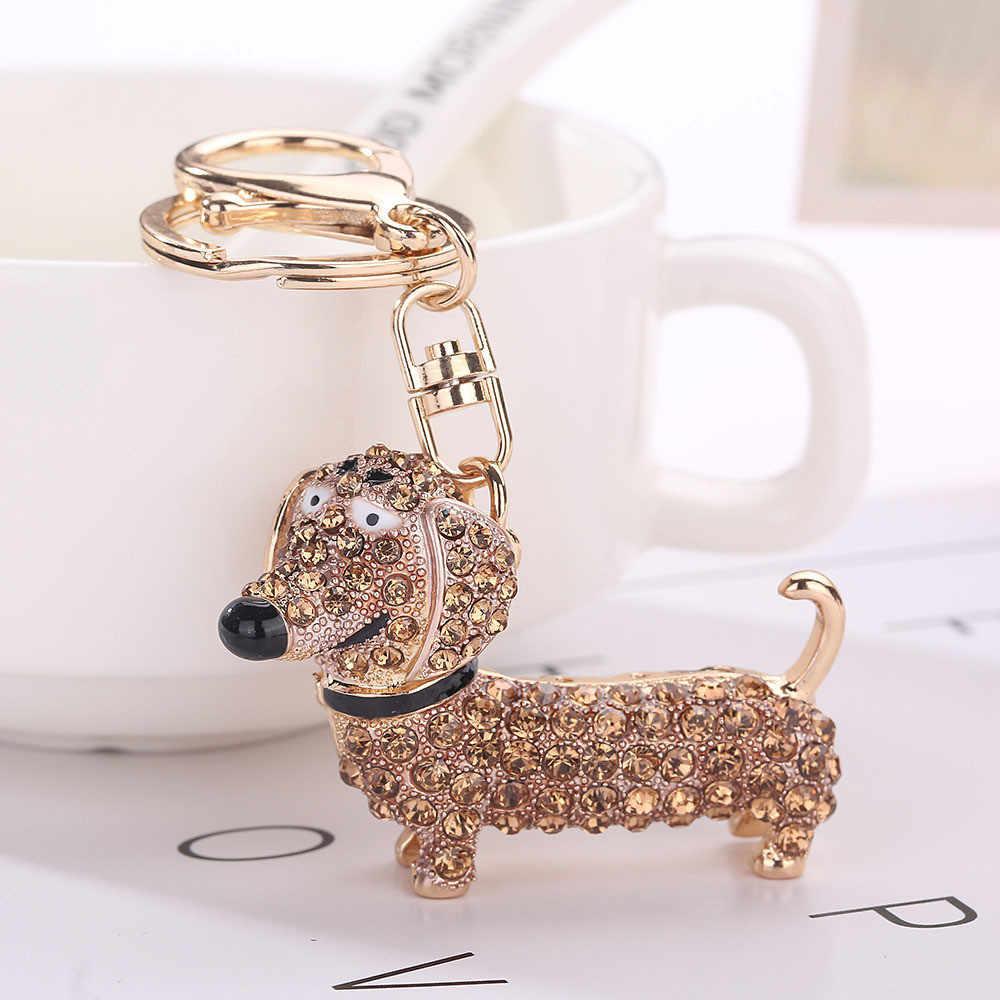 Strass cristal porte-clés fille cadeau animaux teckel porte-clés femmes pendentif clés chaîne bibelots pour sac bijoux chaveiro