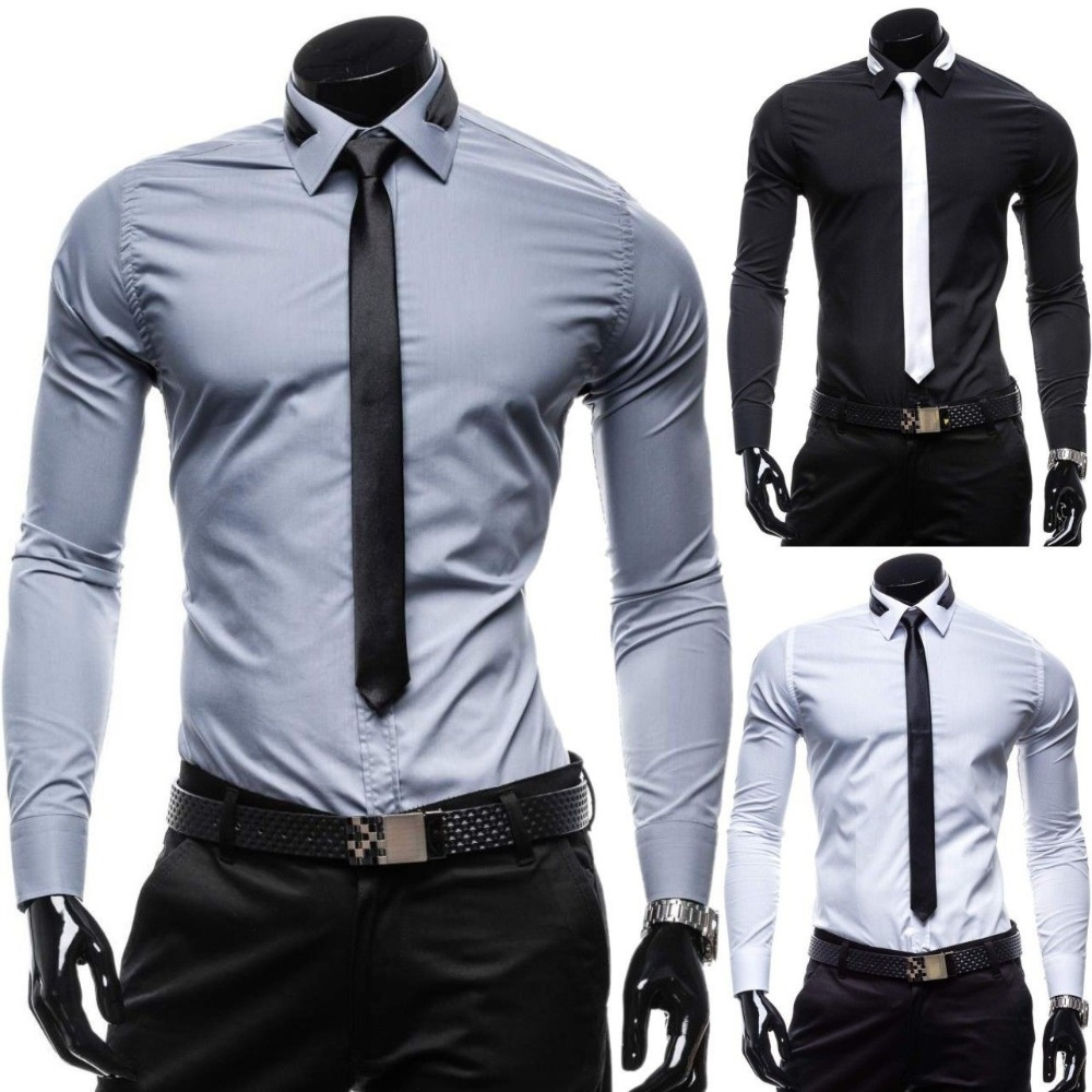 ZOGAA Business Dress Shirt Mens Long Sleeve Slim Fit Men's Casual Button-Down Shirt Formal Solid Dress Shirts Men Clothes Camisa