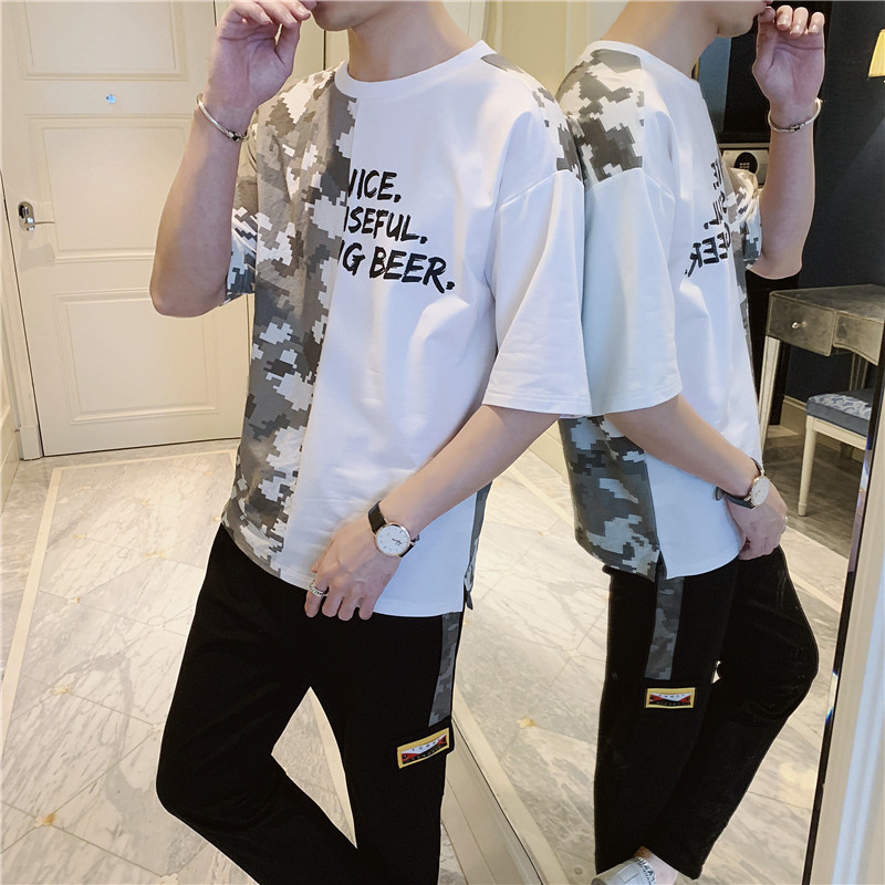 2019 Summer New Products Fashion Man Loose Fashion Printing Short-sleeved T-shirt Capri Ankle Banded Pants Sports Leisure Suit M