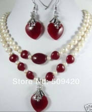 Free Shipping Wholesale>>>beautiful red stone & Freshwater pearl pendant necklace earrings set(China)
