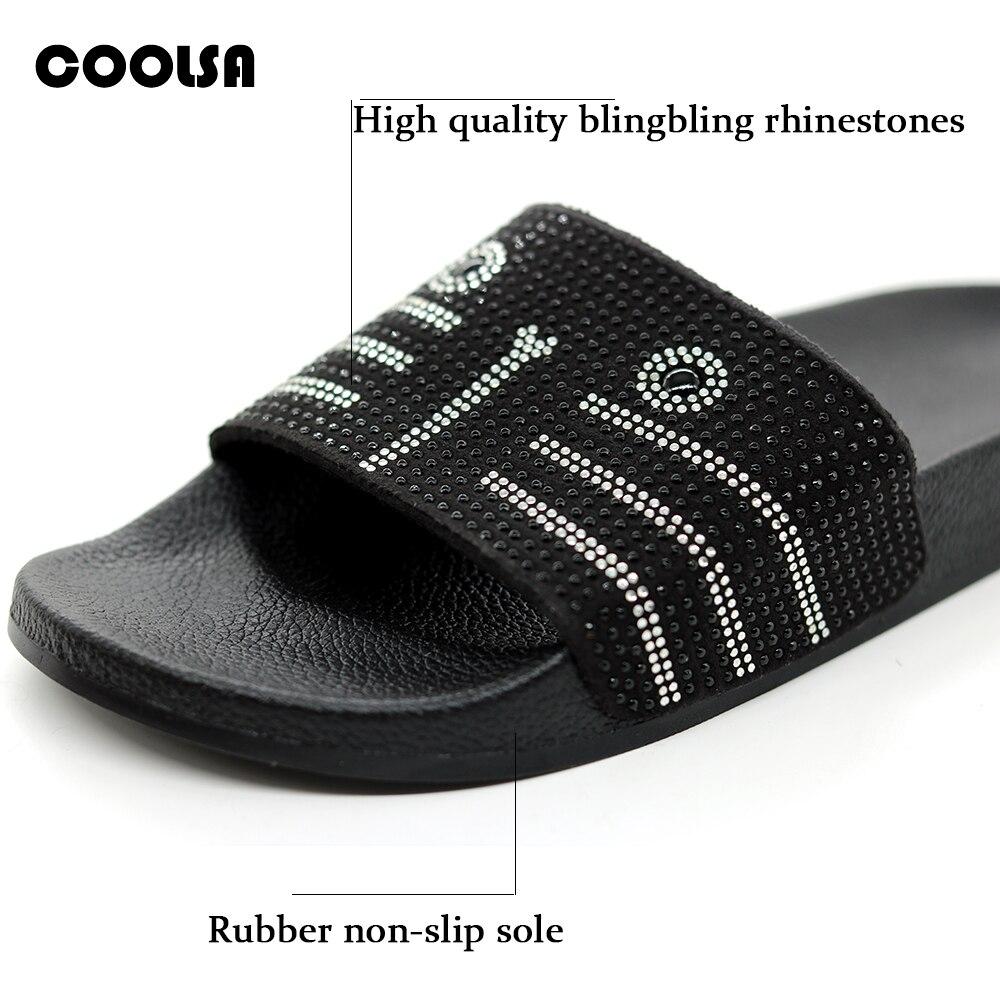 New Summer Flat Bling Rhinestone Women Slippers Cartoon Bulldog Beach Sandals Outdoor Flip Flop Fashion Lady Slides Casual Shoes