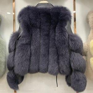 Image 5 - New Arrival Womens Fashion Fur Coats Real Full Pelt Fox Fur Outerwear Genuine Sheepskin Leather Jackets S7650