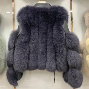 Image 5 - 새로운 도착 여자의 패션 모피 코트 진짜 전체 펠트 폭스 모피 겉옷 정품 양피 가죽 자켓 s7650
