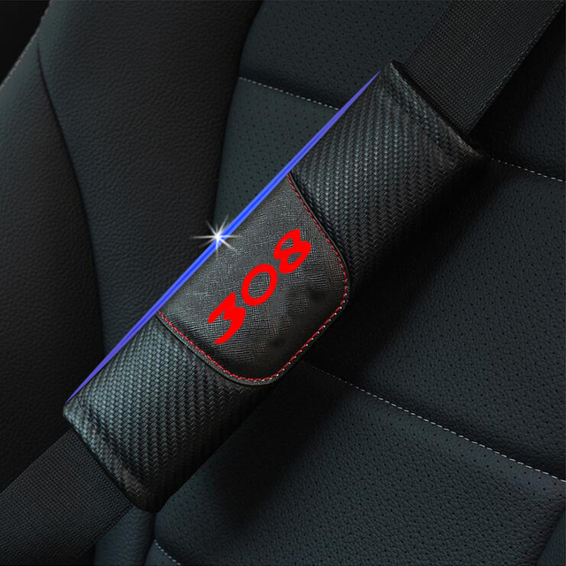 Dla Peugeot 308 2 sztuk moda Carbon włókno skórzane nakładka na pas bezpieczeństwa w samochodzie fotelik samochodowy nakładka na pas bezpieczeństwa akcesoria samochodowe