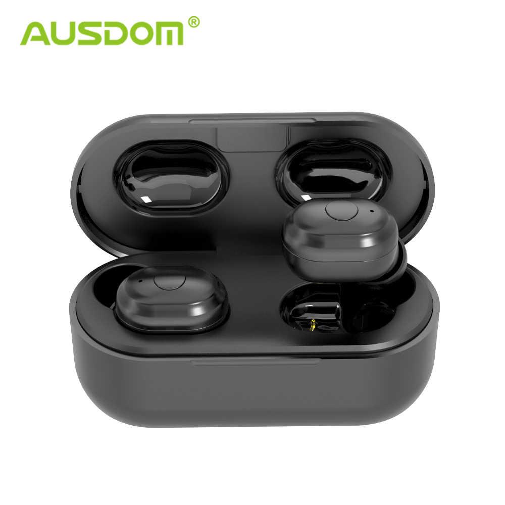 AUSDOM TW01 V5.0 ミニ TWS ワイヤレス Bluetooth イヤホン 20H プレイ時間ワイヤレスヘッドフォン Bluetooth ヘッドセット電話用マイク