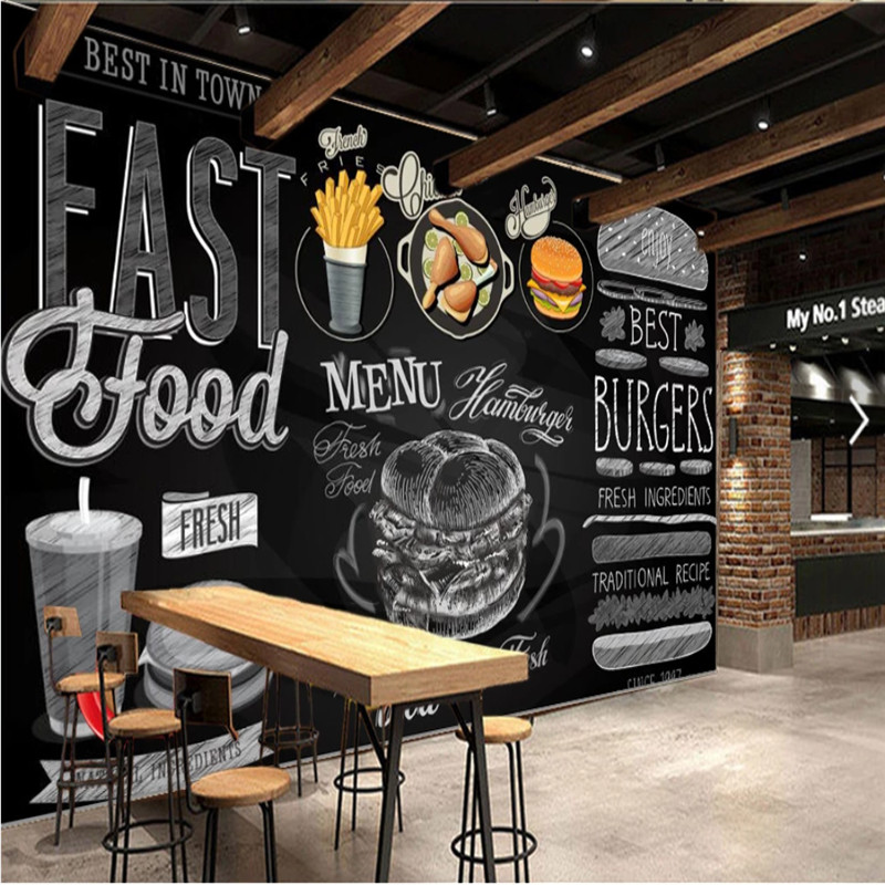 Modern Burgers Restaurant Wall Paper 3D Blackboard Hand-painted Western Fast Food Catering Background Wall Mural Wallpaper 3D