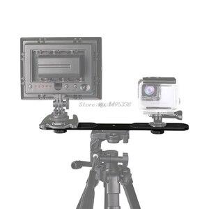 Image 2 - Universal Dual Flash Bracket Holder with 2 Adapter Screws For 1/4 Screw Hole Studio Tripod Light Stand Digital SLR Camera NEW