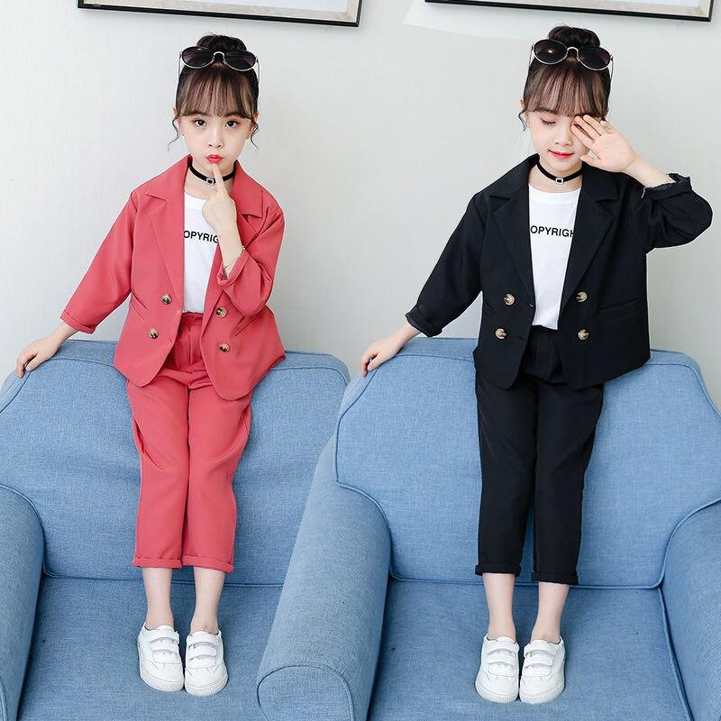 Приталенный Свадебный костюм для девочек, пиджак + штаны + футболка, детский деловой костюм из 3 предметов, школьный Блейзер для девочек