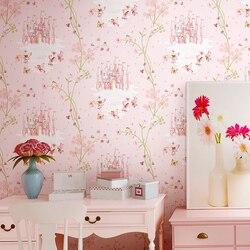 Высокое качество детская комната обои Девушка нетканые Синий Розовый обои мультфильм замок спальня комната дети принцесса розовый