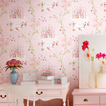 High quality children's room wallpaper girl non-woven blue pink wall paper cartoon castle bedroom room child princess pink