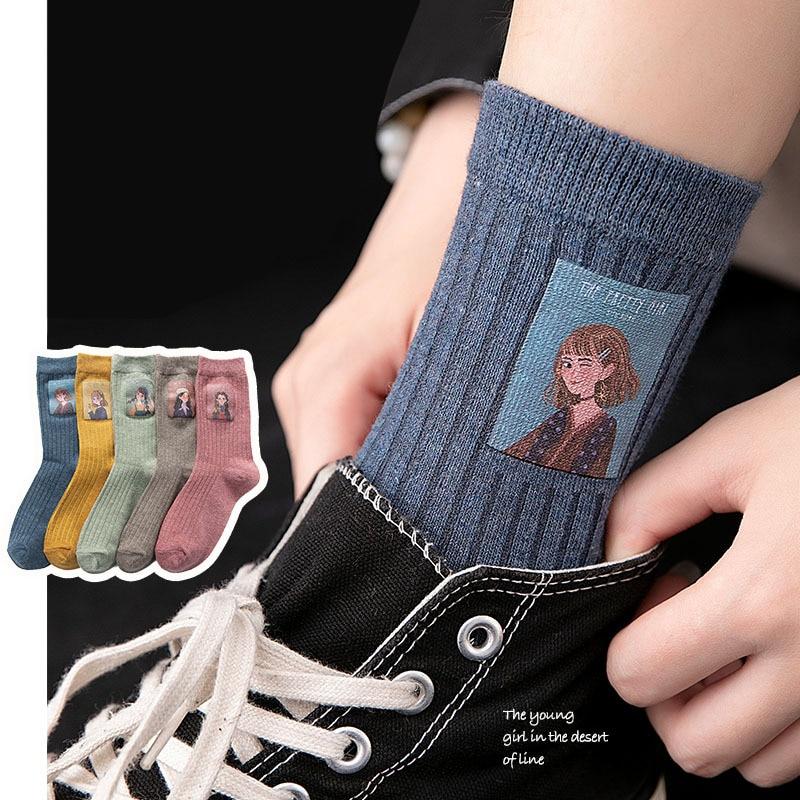 Cotton Women Long Socks 2019 Autumn Breathable Deodorant Winter New Cute Cartoon Fashion Brief Wild Trend Motion Socks Women