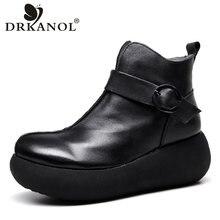 DRKANOL 2021 Neue Damen Schnee Stiefel Winter Retro Handgemachte Plattform Knöchel Stiefel Für Frauen Aus Echtem Leder Keile Stiefel Warme Schuhe