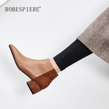 ROBESPIERE Ankle Boots For Women Top Quality Genuine Leather Mixed Colors Lady Shoes Fashion Pointed Toe Square Heels B89