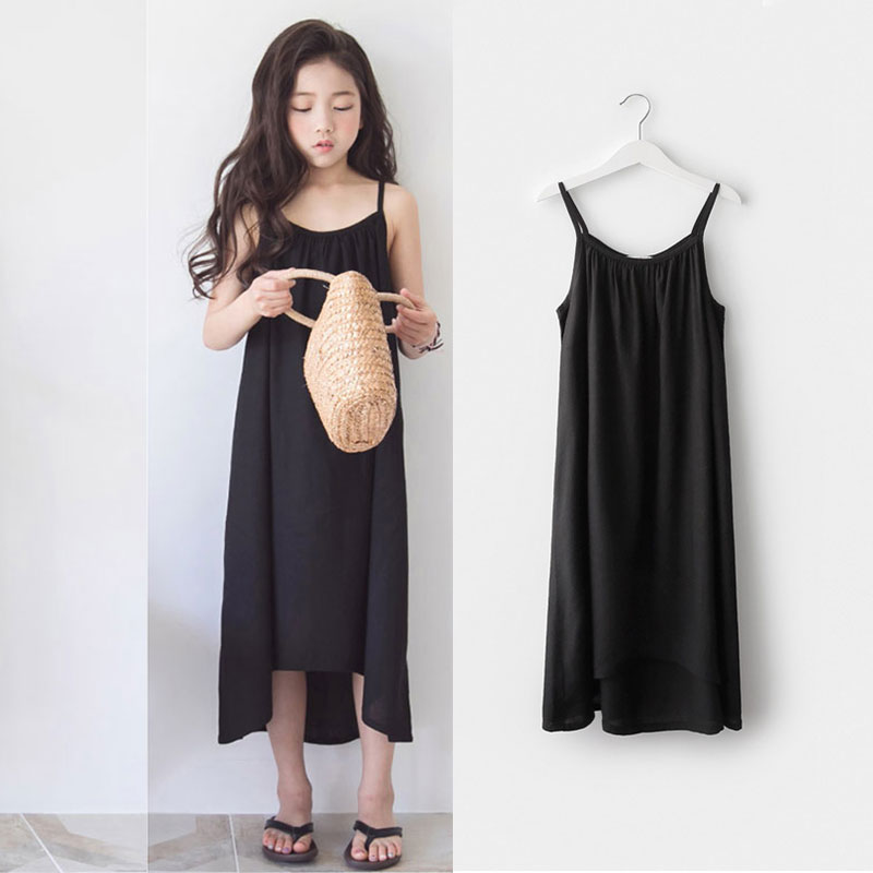 Teenager Girls Party Dresses Summer Kids Black Sleeveless Dress For Girl Beach Costumes Children Clothes 4 6 7 8 9 10 12 16Years