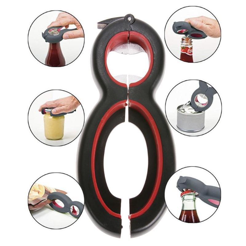 6 in 1 Multi Function Can Beer Bottle Opener All in One Jar Gripper Can Beer Lid Twist Off Jar Wine Opener Claw VIP Dropship(China)