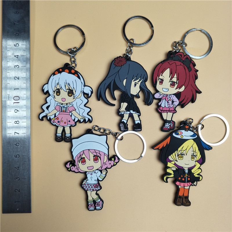 Japanese Anime Figure Puella Magi Silicone Mobile-Phone-Keychain Rubber Sweet-Smell PVC