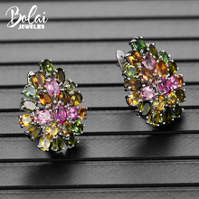 Bolai 100% natural tourmaline luxury stud earrings 925 sterling silver multi color gemstone floral jewelry for women Christmas
