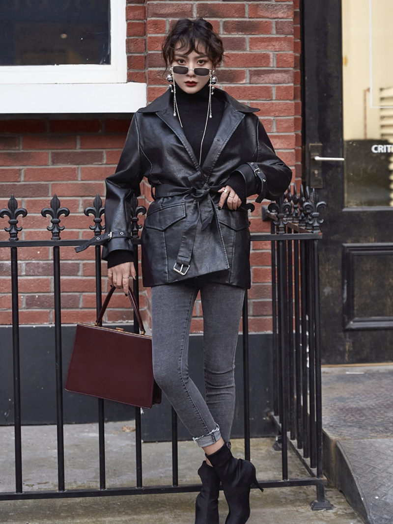 Fashion Women's PU   Leather   Black Loose Jacket Motorcycle Coat With Belt Size S-XL Cool Outwear S234