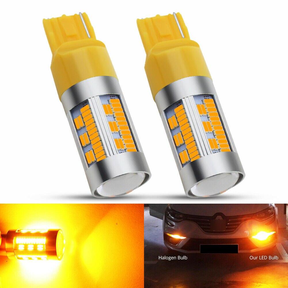 DC12V LED Light Bulbs 2pcs T20 7440 105SMD WY21W Canbus Car Auto Brake