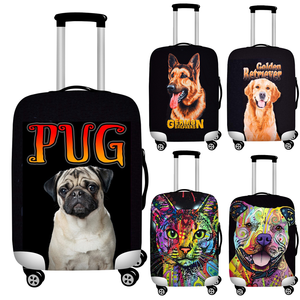 Twoheartsgirl Black Painting Dog Print Travel Luggage Covers Elastic 18''-32'' Suitcase Protective Dust Cover Baggage Covers