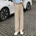 Ретро прямые широкие коричневые брюки винтажные женские корейские повседневные длинные кофейные брюки с высокой талией белые бежевые брюк...