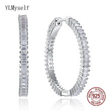 28 mm Diameter Real 925 Silver Hoop Earrings Jewelry Rectangle CZ Stones Perfect jewelry gift Sterling Round Earring