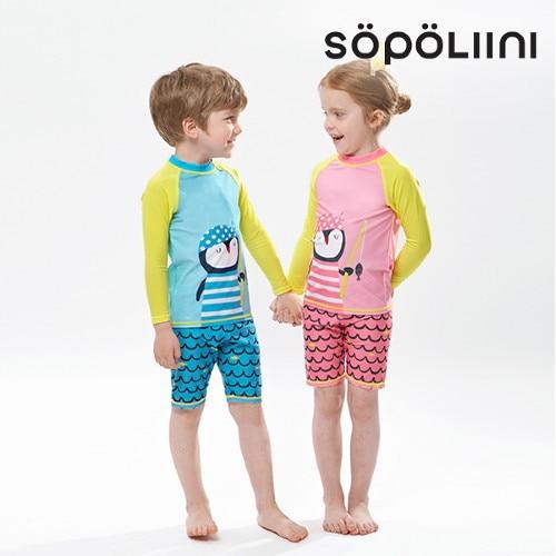KID'S Swimwear 2018 New Style Men And Women Children Cute Cartoon Long Sleeve Sun-resistant Split Type Boxers Tour Bathing Suit
