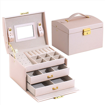 Three-layer PU leather Jewelry Box Portable Storage Organizer Holder Women Jewelry Display Travel Case Packaging Large capacity outad 12 slots watches display box jewelry storage packaging gift casket double layers leather organizer holder rack case hot