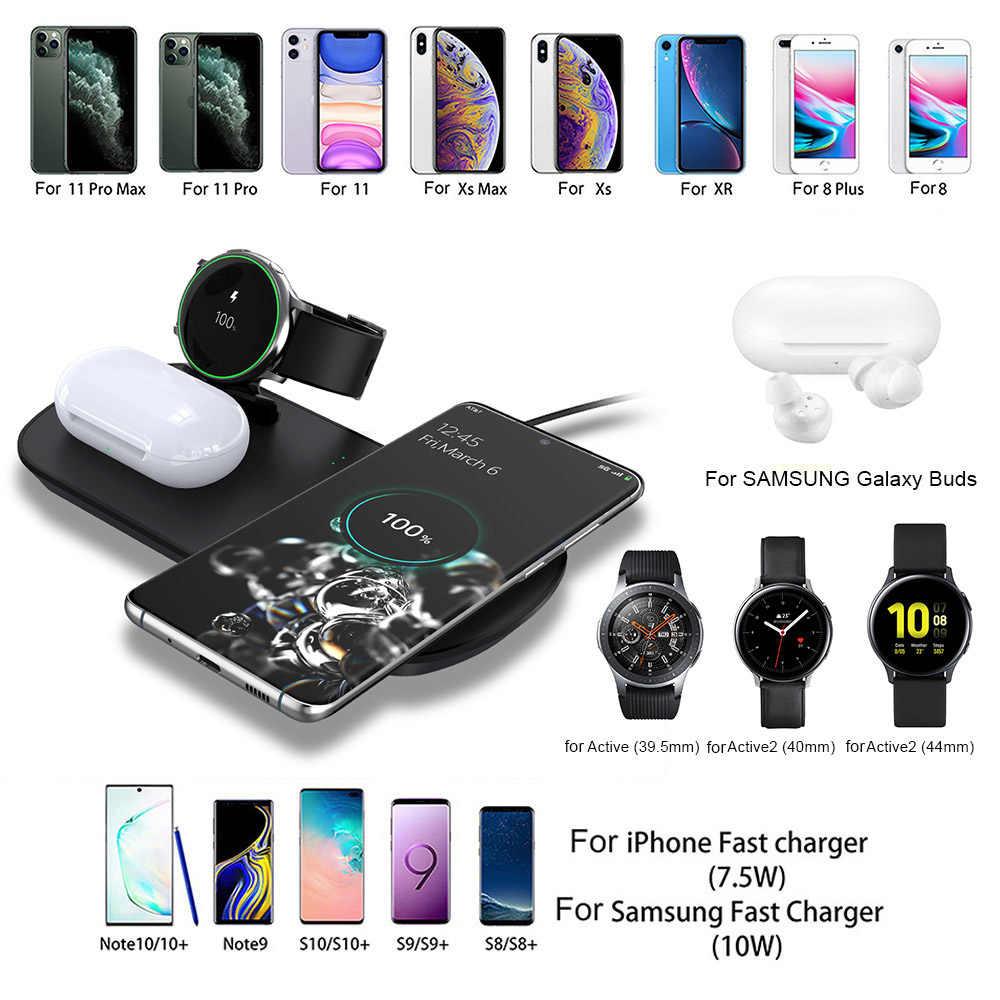 FDGAO 10W תשלום מהיר 3 ב 1 צ 'י אלחוטי מטען עבור סמסונג גלקסי שעון פעיל ניצני iPhone Airpods 2 פרו טעינת Dock תחנה