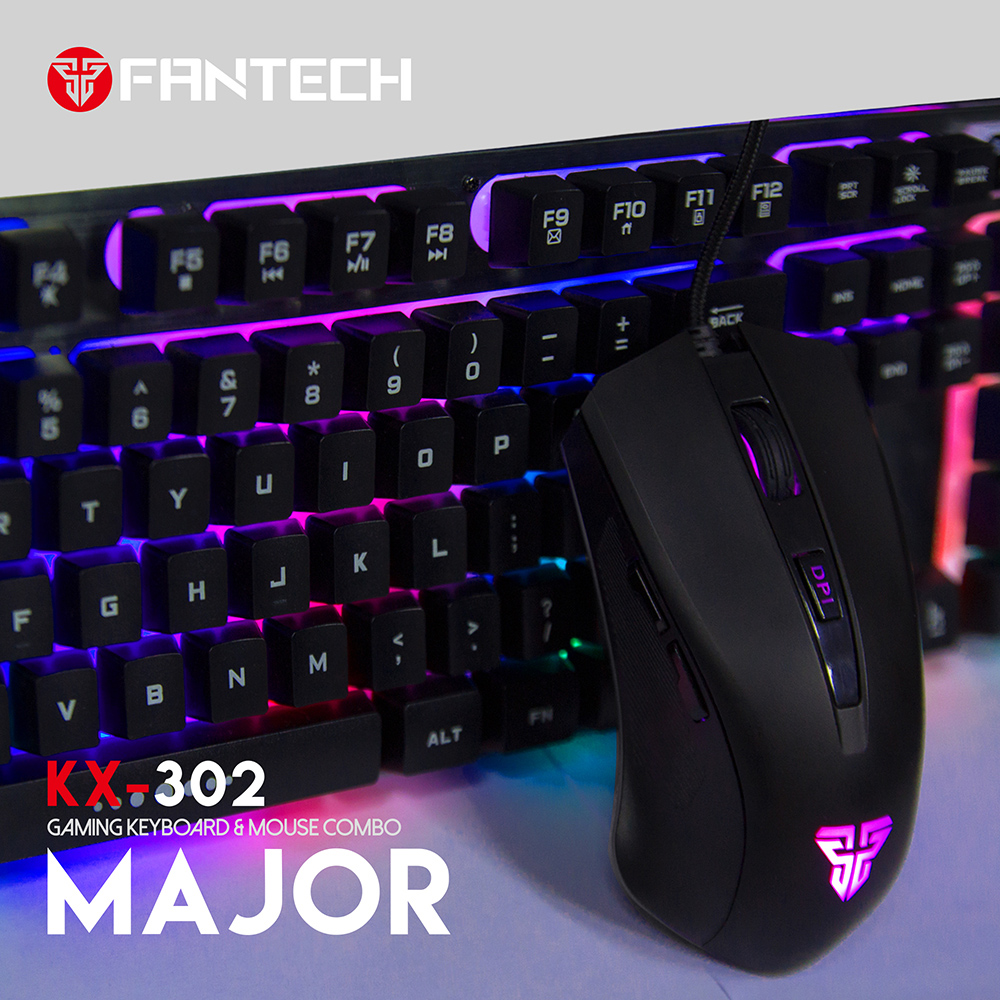 Fantech Mouse And Keyboard KX302 104Key English Gaming Keyboard 3200DPI Adjusted Professional Wired Gaming Mouse For Mouse Gamer