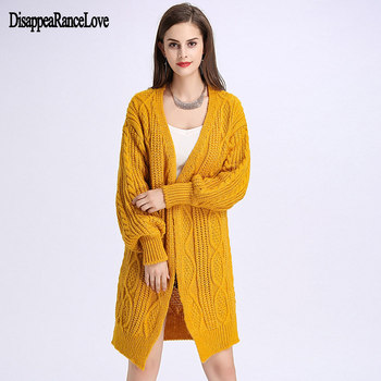 2019 Winter Autumn Long Female Cardigans Sweater Latern Sleeve Casual Knitted Sweaters Oversized Long Cardigans Korean sueter фото