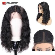 Human-Hair-Wigs Natural-Wave Wignee Women Black/white Hairline-Lace High-Density Pre-Plucked