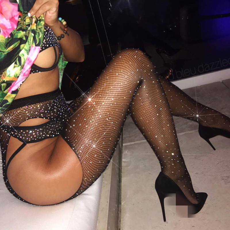 Large Size Hollow Out Mesh Stockings Women Crystal Crotchless Pantyhose Sexy Lingerie Shiny Sexy Tights Thigh High Stockings